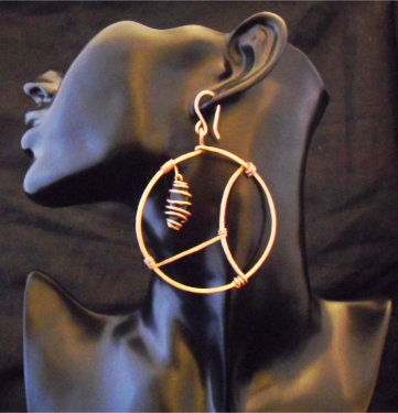 Copper and Black Tourmaline Hoops