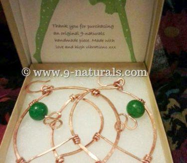 Geometric Copper Hoops with Jade