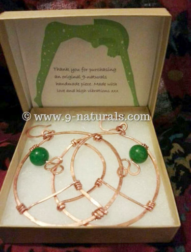 Geometric Copper Hoops with Jade