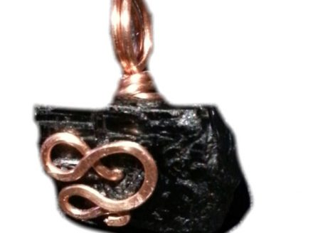 Black Tourmaline and Copper Pendant