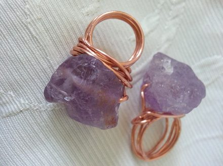 Raw Amethyst and Copper Rings