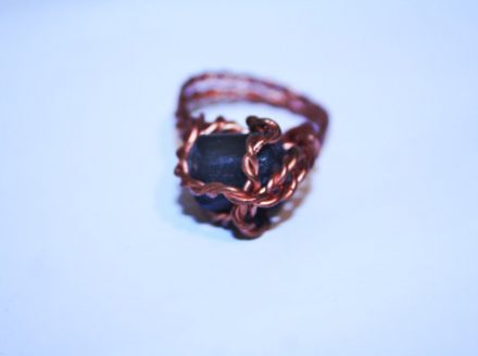 Twisted Copper and Black Tourmaline Ring