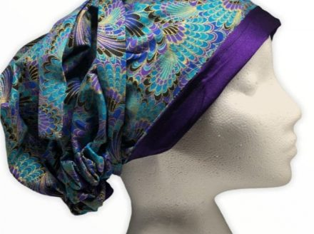 Reversible Peacock Print Satin Lined Head Wrap
